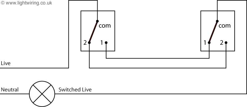 two way light switching schematic using a two wire control