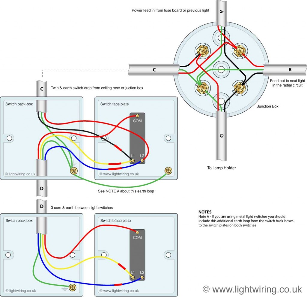 3 way switching wired to a loop-in-loop-out radial lighting circuit done with junction boxes