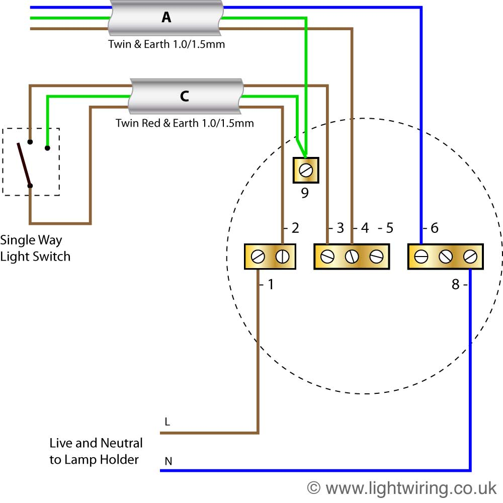 Lighting Wiring Diagram Light For Switch To Radial Circuit Last Ceiling Rose New Harmonised Colours