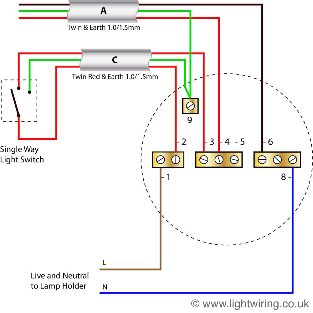 3 Way Lighting Circuit Wiring Diagram Library 2 Switched Schematics Radial Last Ceiling Rose Old Colours