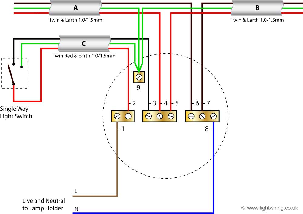 Wiring Diagram For A Light : Radial circuit light wiring diagram old colours