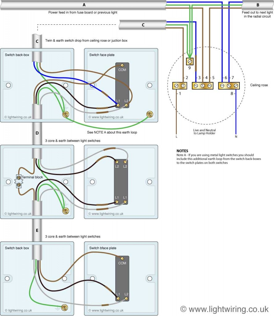 Three way light switching wiring diagram (new cable colours)