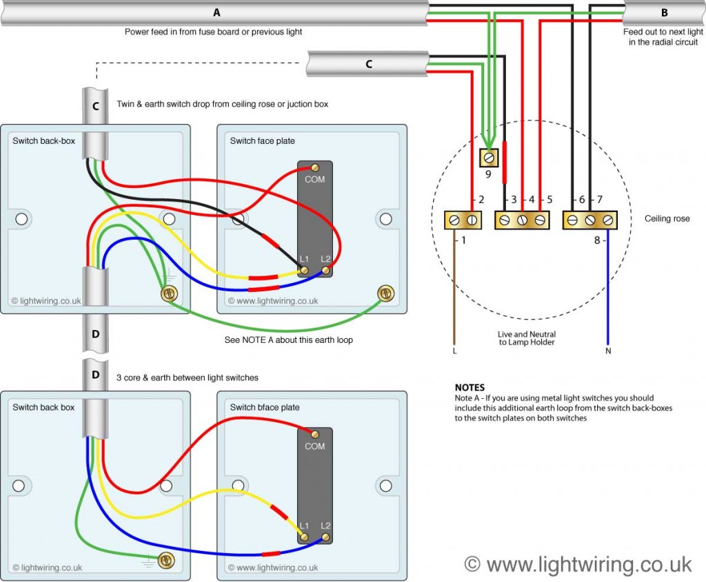 two way switching using a 3 wire control (shown in the old cable colours)