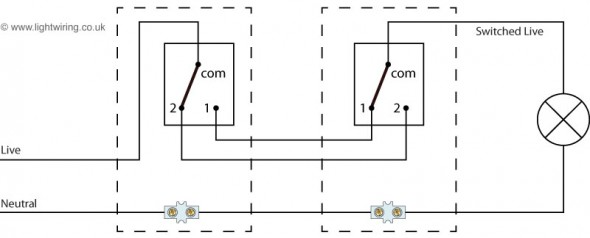 Two way switching with power feed to the switch