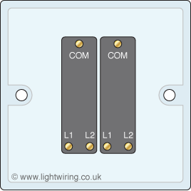 Double gang two way light switch